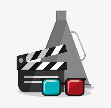 clapboard: Clapboard 3d glasses and megaphone icon. Cinema movie video film and entertainment theme. Colorful design. Vector illustration