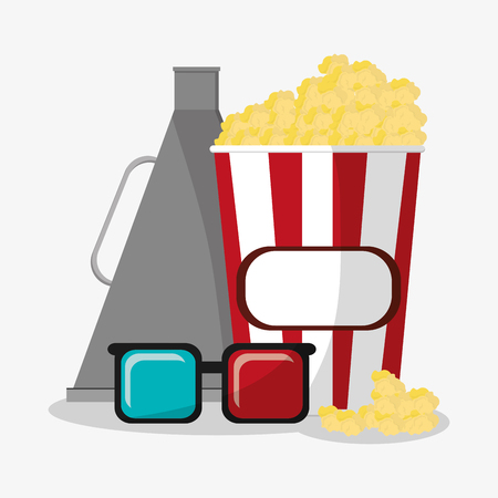 pop corn: Pop corn megaphone and 3d glasses icon. Cinema movie video film and entertainment theme. Colorful design. Vector illustration
