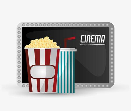 pop corn: Pop corn and soda icon. Cinema movie video film and entertainment theme. Colorful design. Vector illustration Illustration