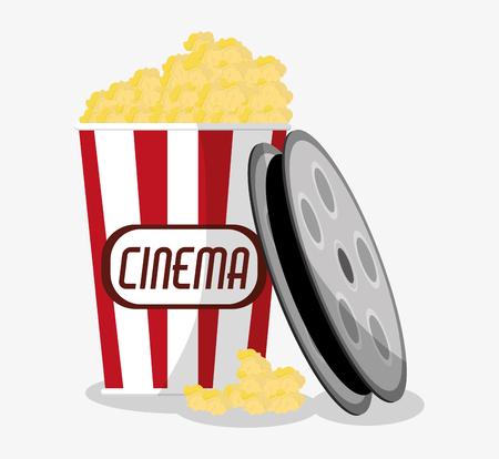 pop corn: Film reel and pop corn icon. Cinema movie video film and entertainment theme. Colorful design. Vector illustration