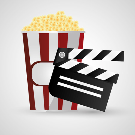 Clapboard and pop corn icon. Cinema movie video film and entertainment theme. Colorful design. Vector illustration Illustration