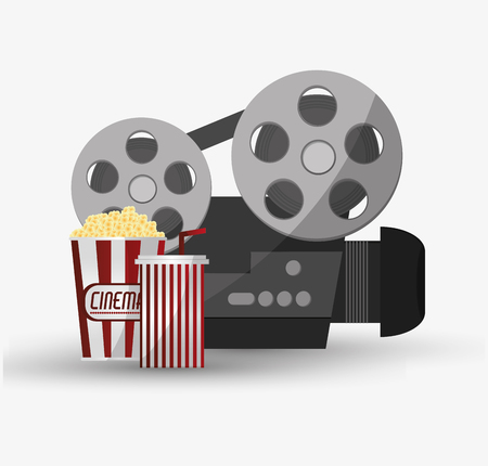 videocamera: Videocamera and pop corn icon. Cinema movie video film and entertainment theme. Colorful design. Vector illustration
