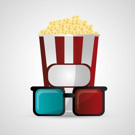 pop corn: Pop corn and 3d glasses icon. Cinema movie video film and entertainment theme. Colorful design. Vector illustration Illustration