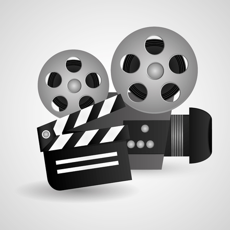 videocamera: Videocamera and clapboard icon. Cinema movie video film and entertainment theme. Colorful design. Vector illustration Illustration