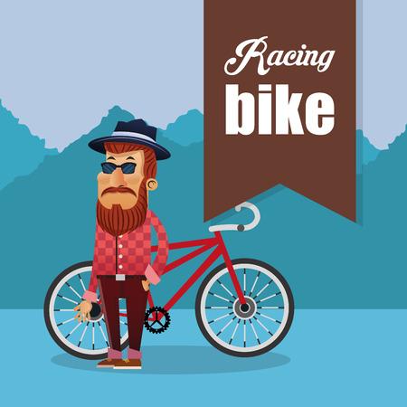 racing bike: racing bike and cyclist icons image vector illustration