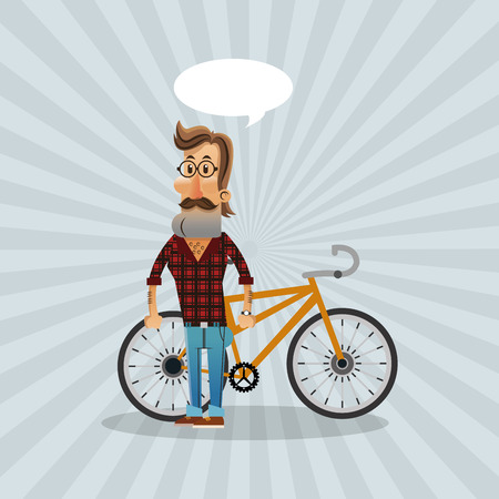 bike and hipster cyclist icons image vector illustration Illustration