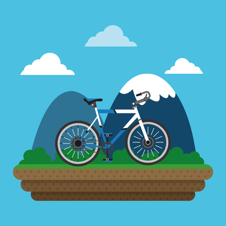 bike and cyclist over mountain background icons image vector illustration Illustration