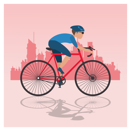 vitality: bike and cyclist over city background icons image vector illustration