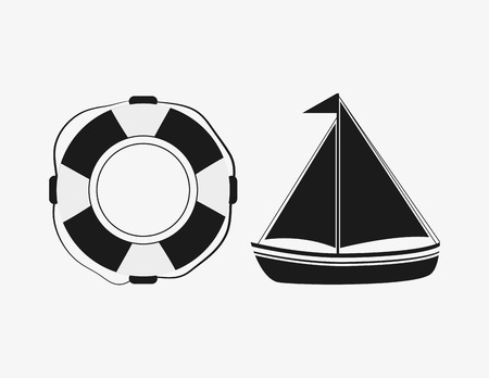 preserver: life preserver with nautical sea life related icons image vector illustration design Illustration