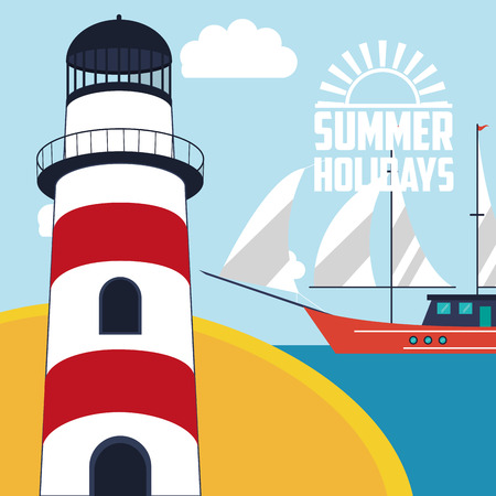 summer holidays lighthouse with nautical sea life related icons image vector illustration design