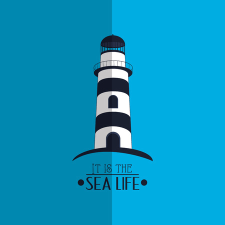 lighthouse with nautical sea life related icons image vector illustration design Illustration