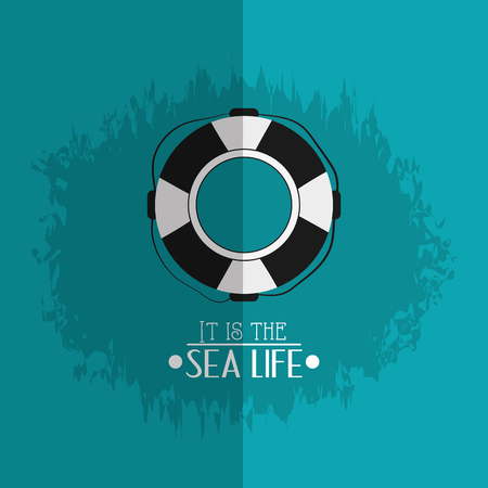 life preserver with nautical sea life related icons image vector illustration design Illustration