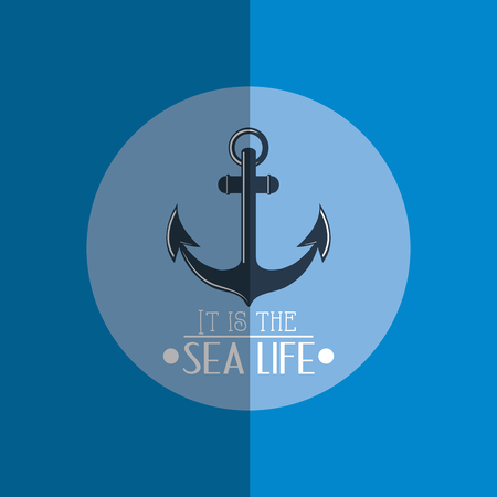 anchor with nautical sea life related icons image vector illustration design Illustration