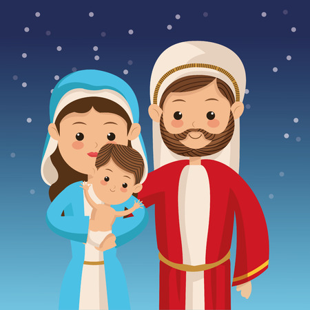 biblical: holy family with biblical christmas related icons image vector illustration design