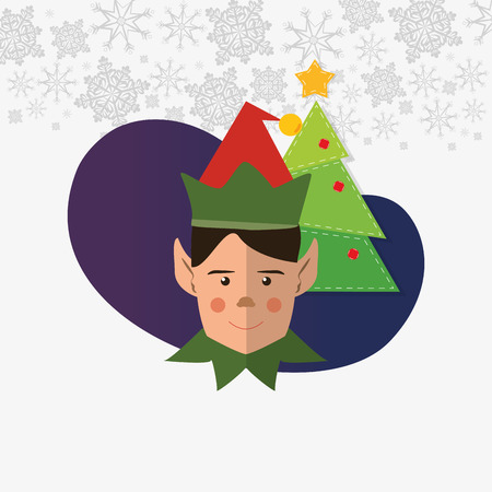 helper: elf helper with merry christmas related icons image vector illustration design Illustration
