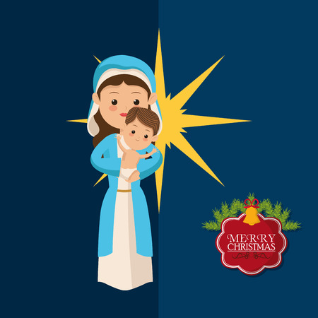 virgin mary and jesus biblical christmas related icons image vector illustration design