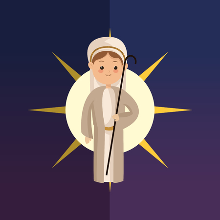 biblical: joseph with biblical christmas related icons image vector illustration design Illustration