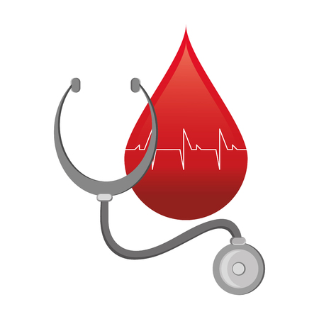 flat design blood drop cardiogram and stethoscope  icon vector illustration