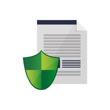 flat design contract and shield  icon vector illustration