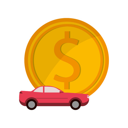 flat design money and car  icon vector illustration