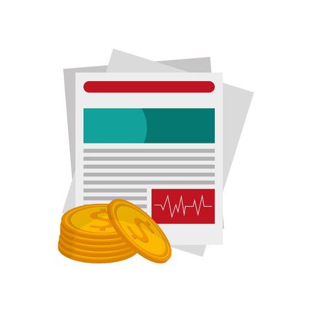 diseño plano historia médica y dinero moneda icono vector ilustración Vectores