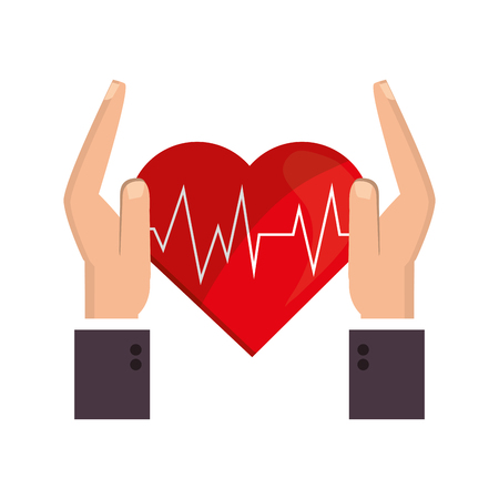 sheltering: flat design heart cardiogram and sheltering hands icon vector illustration Illustration