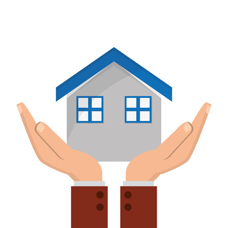 sheltering: flat design house and sheltering hands icon vector illustration