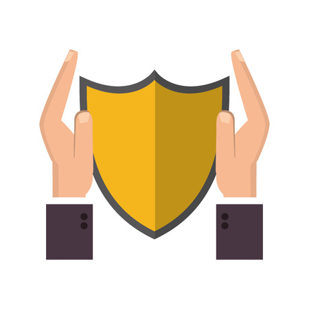 sheltering: flat design shield and sheltering hands icon vector illustration Illustration