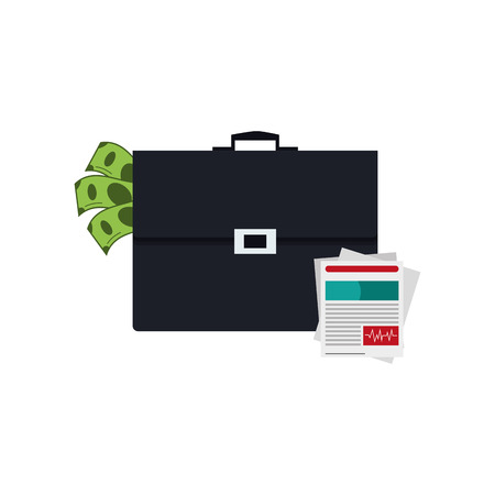 flat design briefcase and medical history icon vector illustration