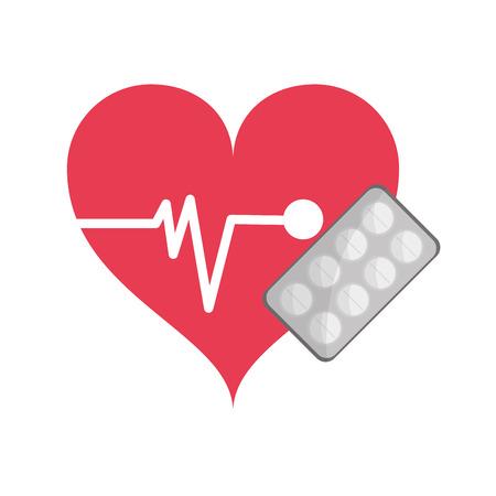 pulsating: flat design heart cardiogram and medicine tablets icon vector illustration