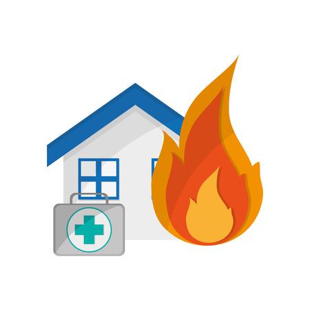 platte ontwerp huis en EHBO-kit pictogram vector illustratie