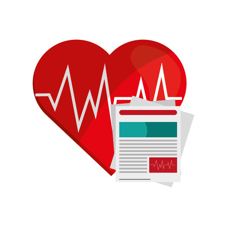 history icon: flat design heart cardiogram and medical history icon vector illustration