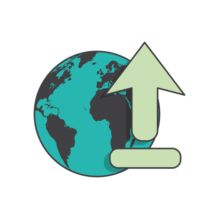 Planet Sphere And Arrow Icon. Global Communication Intenet ...
