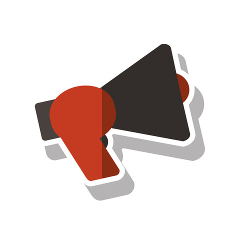 to announce: Megaphone device icon. Amplifer speaker bullhorn and announce theme. Isolated design. Vector illustration