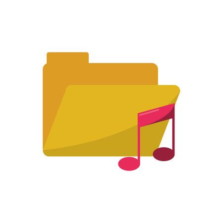 music pentagram: La musica nota e icona del file. pentagramma melodia del suono e il tema musicale. progettazione isolata. illustrazione di vettore