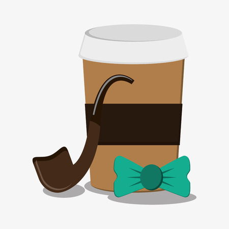 Coffee pipe and bowtie icon. Hipster style vintage retro fashion and culture theme. Colorful design. Vector illustration