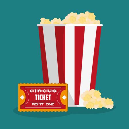 pop corn: Ticket and pop corn icon. Carnival festival fair circus and celebration theme. Colorful design. Vector illustration