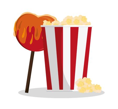 pop corn: Pop corn and sweet apple icon. Carnival festival fair circus and celebration theme. Colorful design. Vector illustration