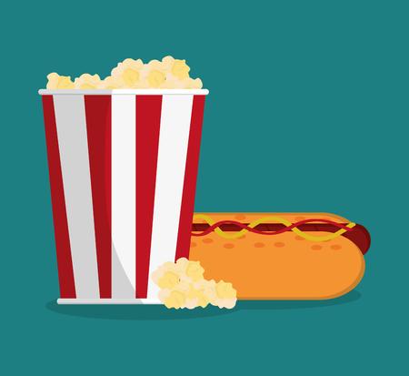 pop corn: Pop corn and hot dog icon. Carnival festival fair circus and celebration theme. Colorful design. Vector illustration