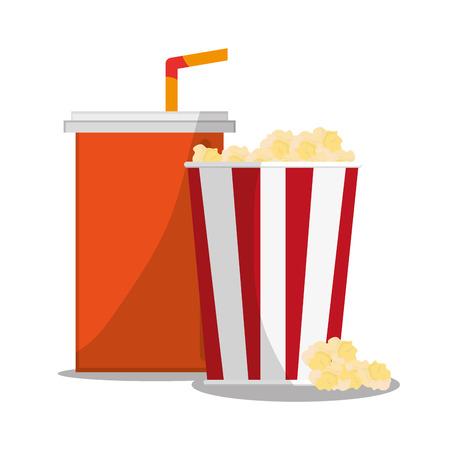 pop corn: Pop corn and soda icon. Carnival festival fair circus and celebration theme. Colorful design. Vector illustration Illustration