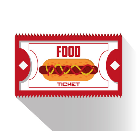 event party festive: Food ticket and hot dog icon. Carnival festival fair circus and celebration theme. Colorful design. Vector illustration