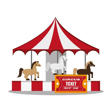 event party festive: Carousel icon. Carnival festival fair circus and celebration theme. Colorful design. Vector illustration