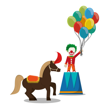 event party festive: Clown and horse icon. Carnival festival fair circus and celebration theme. Colorful design. Vector illustration Illustration