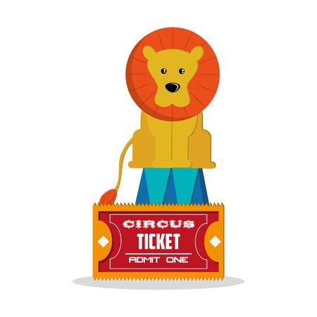 event party festive: Lion icon. Carnival festival fair circus and celebration theme. Colorful design. Vector illustration