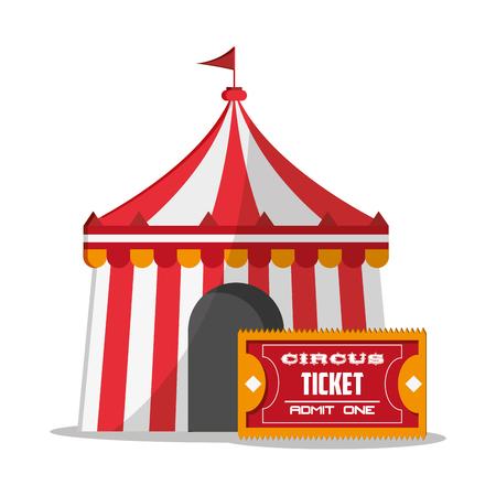 event party festive: Striped tent icon. Carnival festival fair circus and celebration theme. Colorful design. Vector illustration