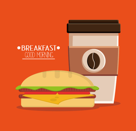 breakfast sandwich: Coffee and sandwich icon. Breakfast fresh product and market theme. Colorful design. Vector illustration