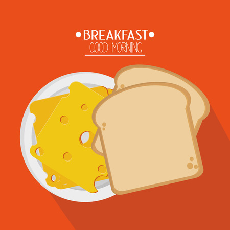cheese bread: Bread with cheese icon. Breakfast fresh product and market theme. Colorful design. Vector illustration