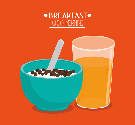 Icône de céréales et de jus. Petit-déjeuner produit frais et thème du marché. Design coloré Illustration vectorielle