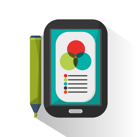infomation: Smartphone and marker icon. Infographic data and information theme. Colorful design. Vector illustration Illustration