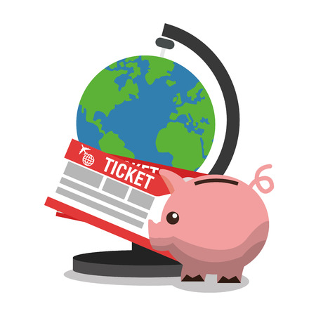 Planet piggy and tickets icon. Travel trip vacation and tourism theme. Colorful design. Vector illustration Illustration